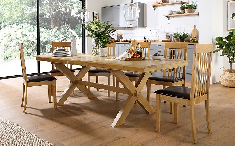 Grange Oak Extending Dining Table with 6 Oxford Chairs (Brown Leather Seat Pad)