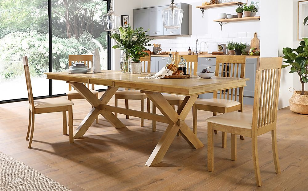 Grange Oak Extending Dining Table with 8 Oxford Chairs (Ivory Leather Seat Pads)