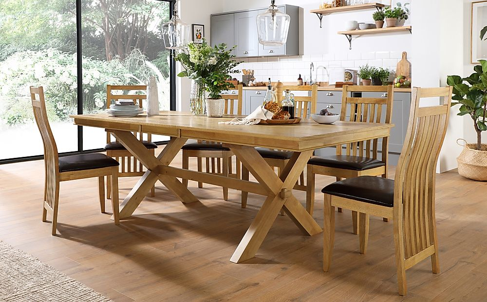 Grange Oak Extending Dining Table with 8 Bali Chairs (Brown Leather Seat Pads)