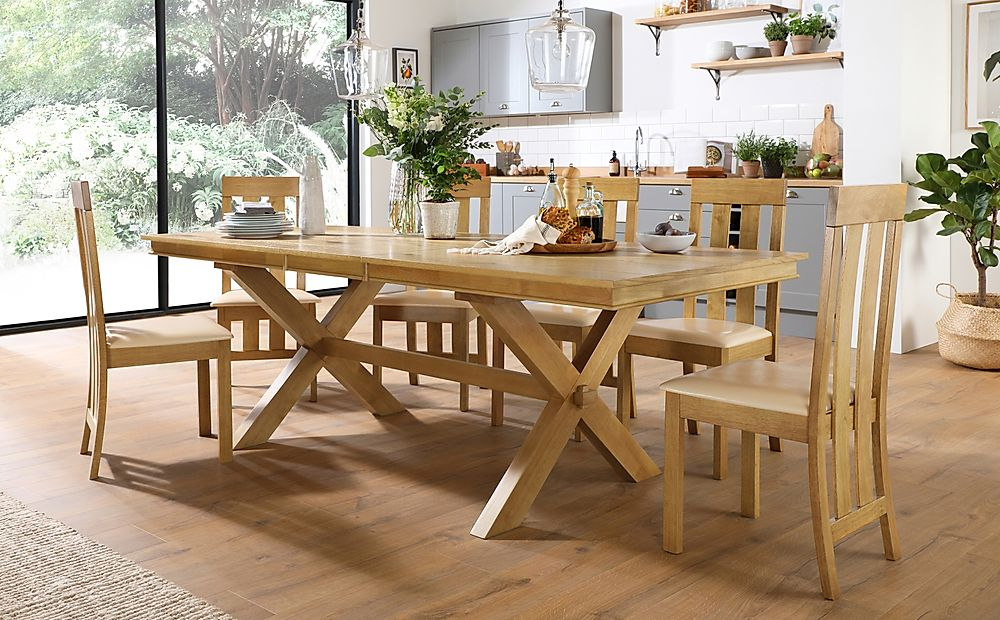 Grange Oak Extending Dining Table with 8 Chester Chairs (Ivory Leather Seat Pad)