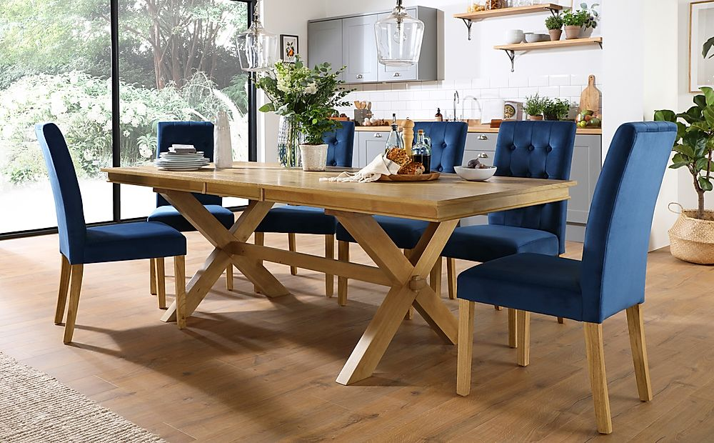 Grange Oak Extending Dining Table with 6 Regent Blue Velvet Chairs