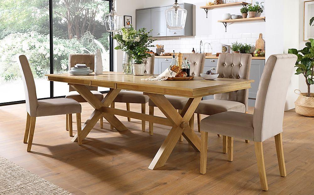 Grange Oak Extending Dining Table with 6 Regent Mink Velvet Chairs