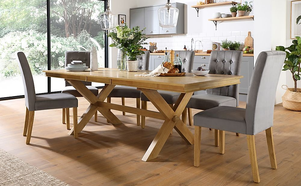 Grange Oak Extending Dining Table with 8 Regent Grey Velvet Chairs