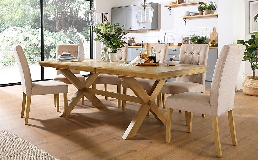 Grange Oak Extending Dining Table with 8 Regent Oatmeal Fabric Chairs