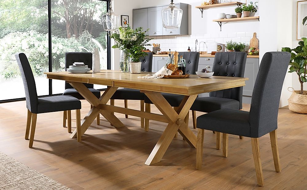 Grange Oak Extending Dining Table with 8 Regent Slate Fabric Chairs
