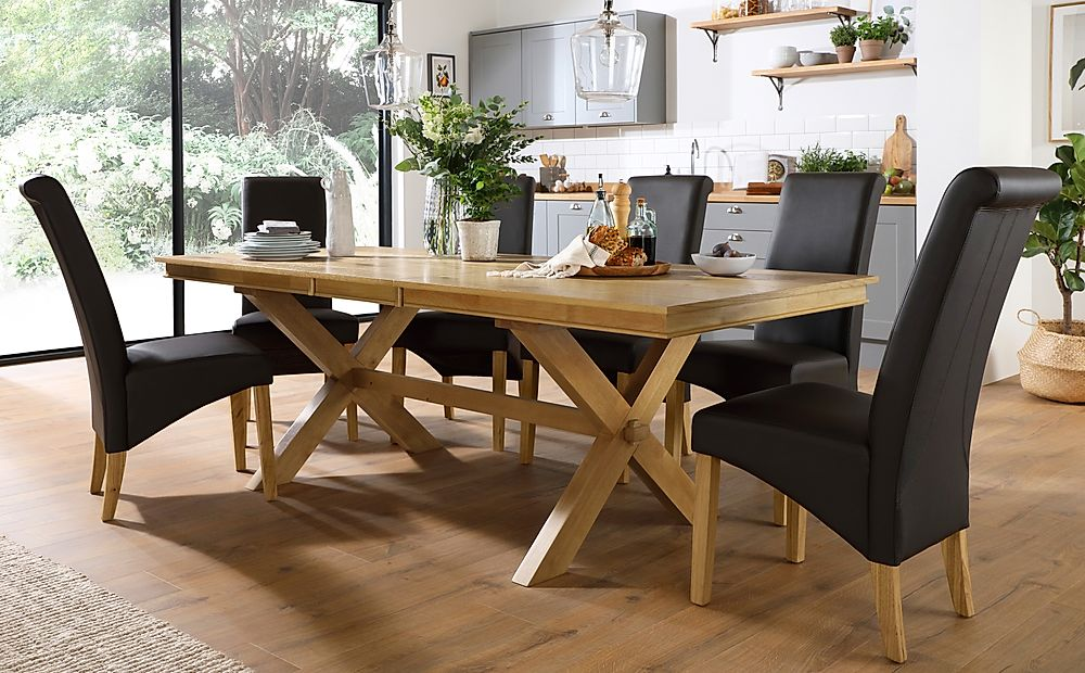 Grange Oak Extending Dining Table with 8 Richmond Brown Leather Chairs