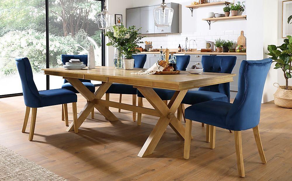 Grange Oak Extending Dining Table with 8 Bewley Blue Velvet Chairs