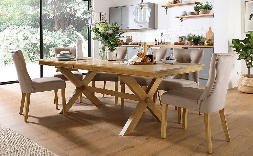 Grange Oak Extending Dining Table with 6 Bewley Mink Velvet Chairs