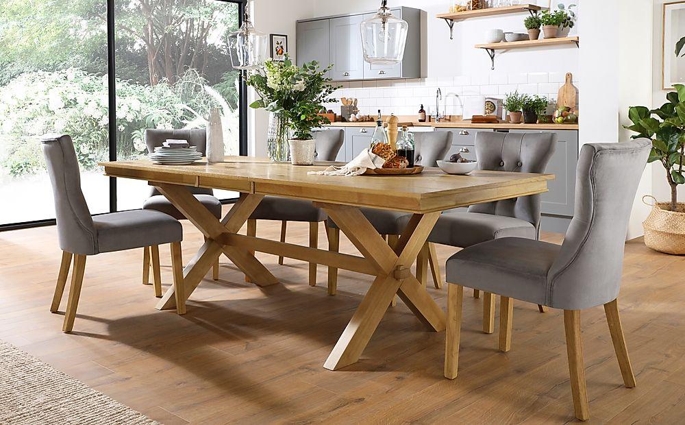 Grange Oak Extending Dining Table with 4 Bewley Grey Velvet Chairs