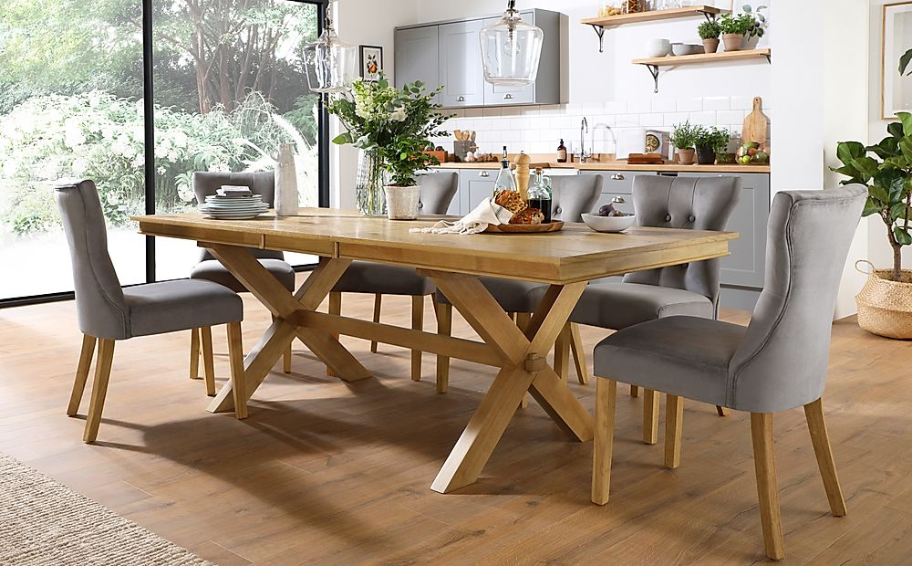 Grange Oak Extending Dining Table with 8 Bewley Grey Velvet Chairs