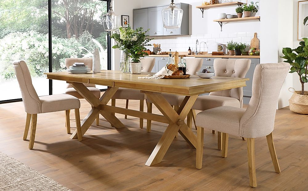 Grange Oak Extending Dining Table with 6 Bewley Oatmeal Fabric Chairs