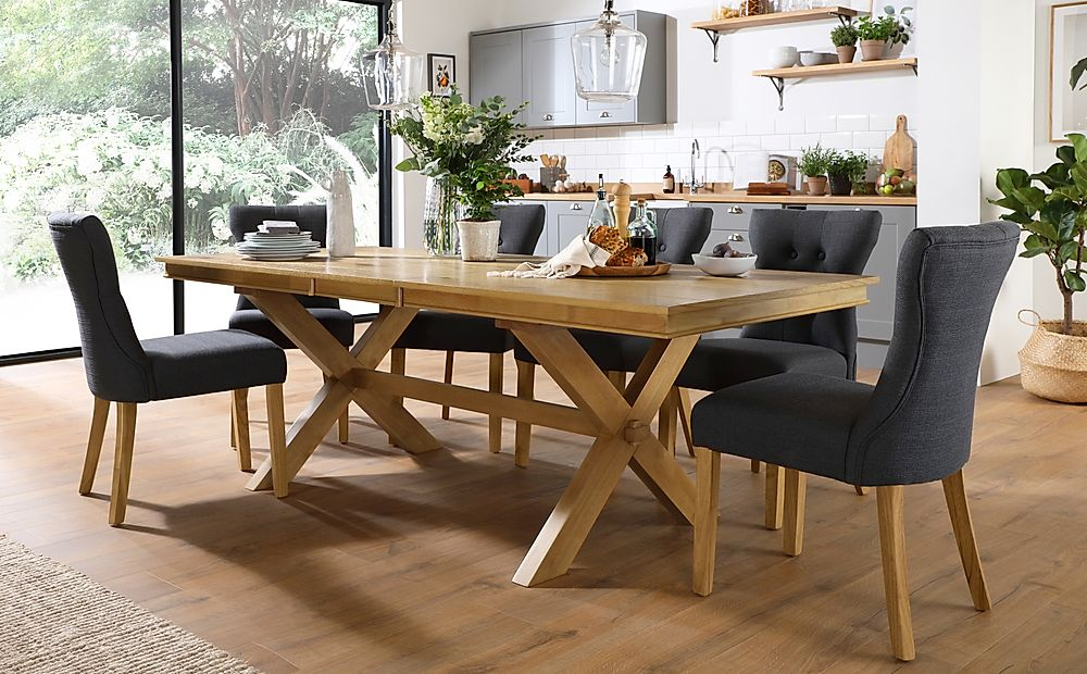 Grange Oak Extending Dining Table with 8 Bewley Slate Fabric Chairs