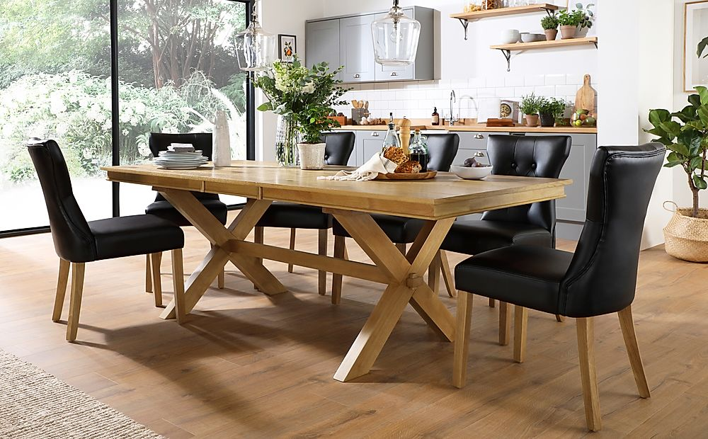 Grange Oak Extending Dining Table with 8 Bewley Black Leather Chairs