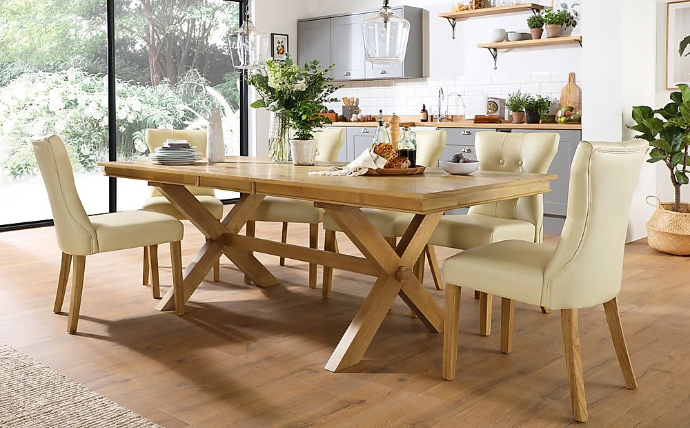 Grange Oak Extending Dining Table with 6 Bewley Ivory Leather Chairs