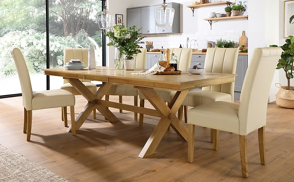 Grange Oak Extending Dining Table with 4 Carrick Ivory Leather Chairs