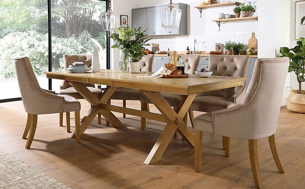 Grange Oak Extending Dining Table with 8 Duke Mink Velvet Chairs