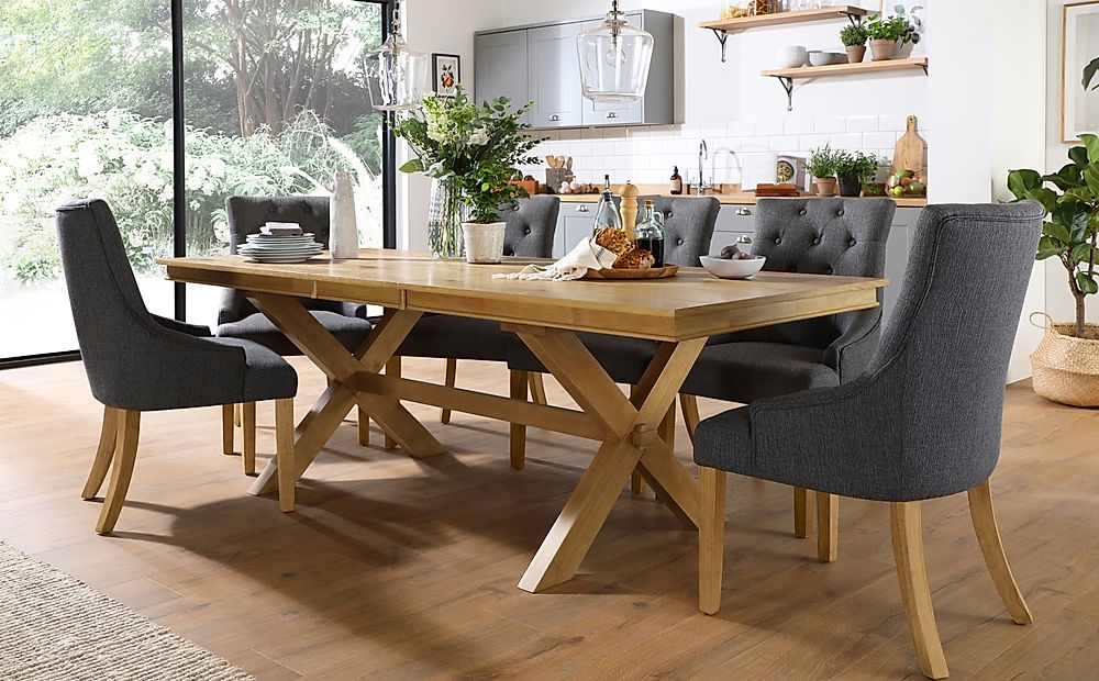 Grange Oak Extending Dining Table with 8 Duke Slate Fabric Chairs