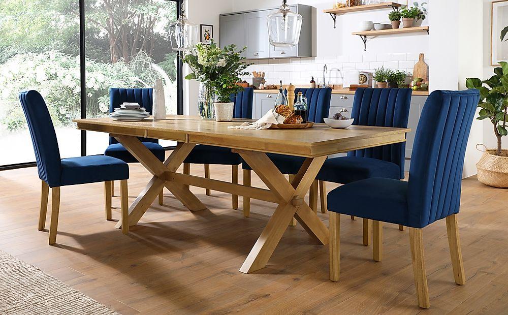 Grange Oak Extending Dining Table with 6 Salisbury Blue Velvet Chairs