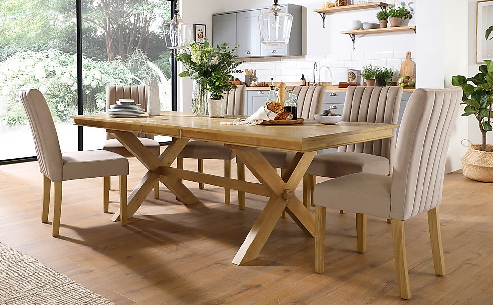 Grange Oak Extending Dining Table with 8 Salisbury Mink Velvet Chairs