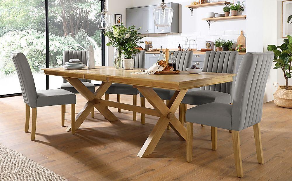 Grange Oak Extending Dining Table with 8 Salisbury Grey Velvet Chairs