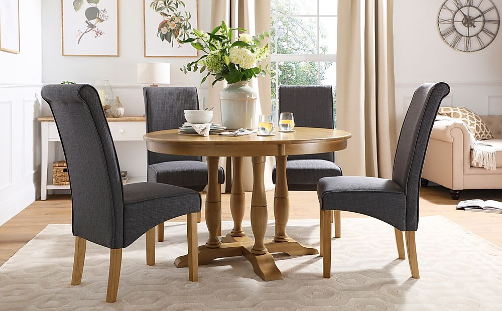 Highgrove Round Oak Wood Dining Table with 4 Stamford Slate Fabric Chairs