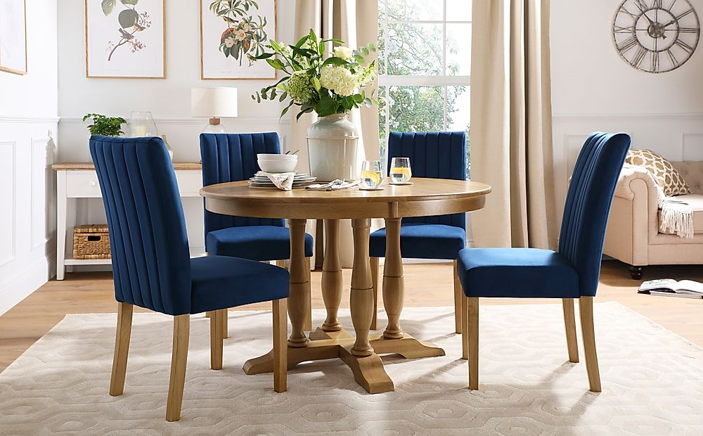 Highgrove Round Oak Wood Dining Table with 4 Salisbury Blue Velvet Chairs
