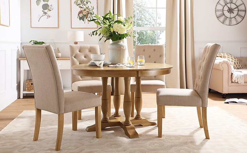 Highgrove Round Oak Wood Dining Table with 4 Hatfield Oatmeal Fabric Chairs