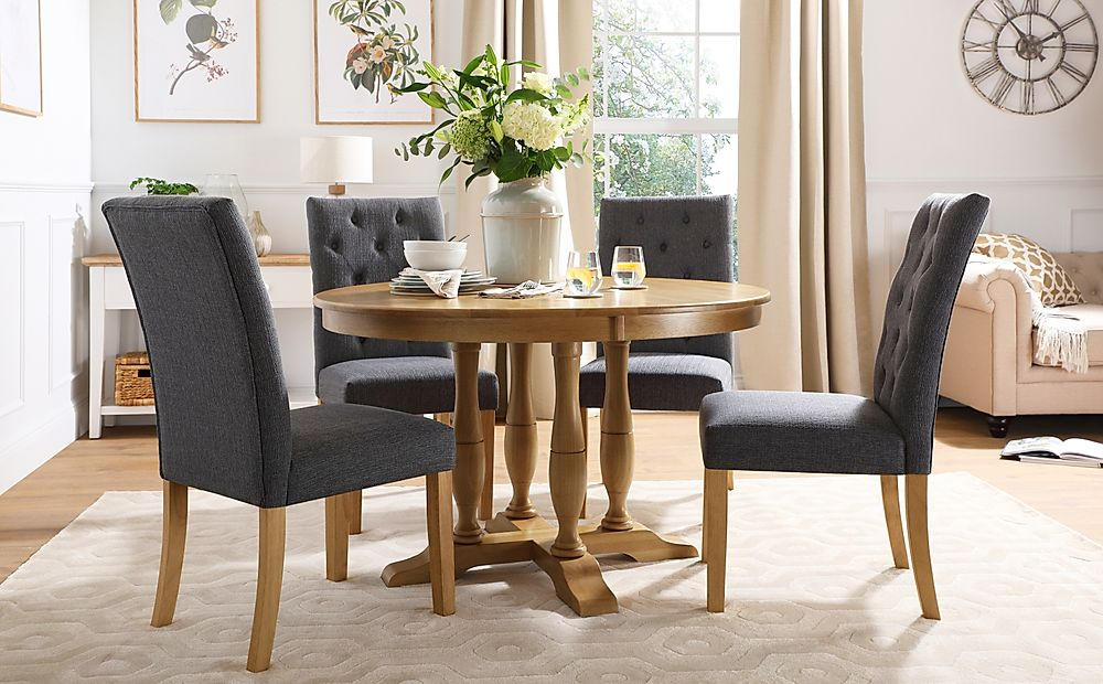 Highgrove Round Oak Wood Dining Table with 4 Hatfield Slate Fabric Chairs