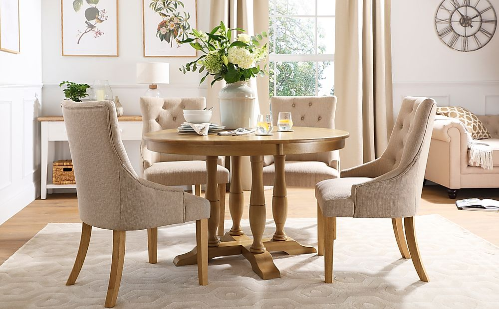 Highgrove Round Oak Wood Dining Table with 4 Duke Oatmeal Fabric Chairs