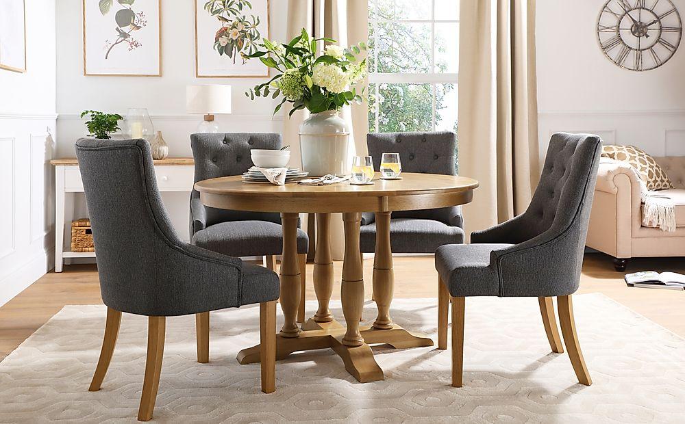 Highgrove Round Oak Wood Dining Table with 4 Duke Slate Fabric Chairs
