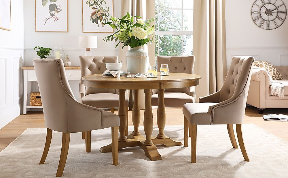 Highgrove Round Oak Wood Dining Table with 4 Duke Mink Velvet Chairs