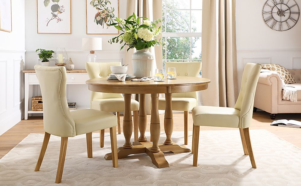 Highgrove Round Oak Wood Dining Table with 4 Bewley Ivory Leather Chairs