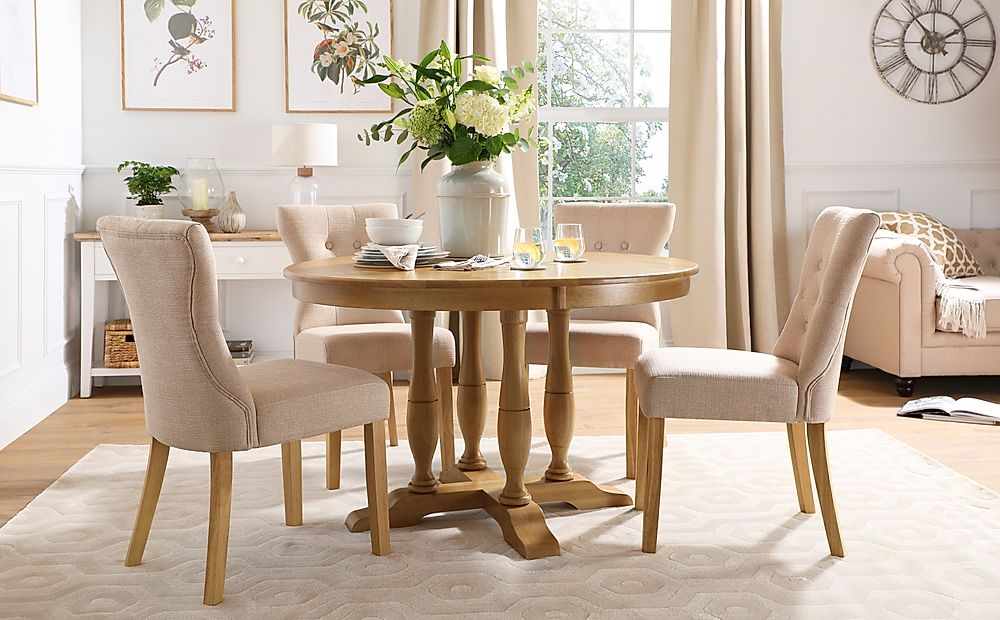 Highgrove Round Oak Wood Dining Table with 4 Bewley Oatmeal Fabric Chairs