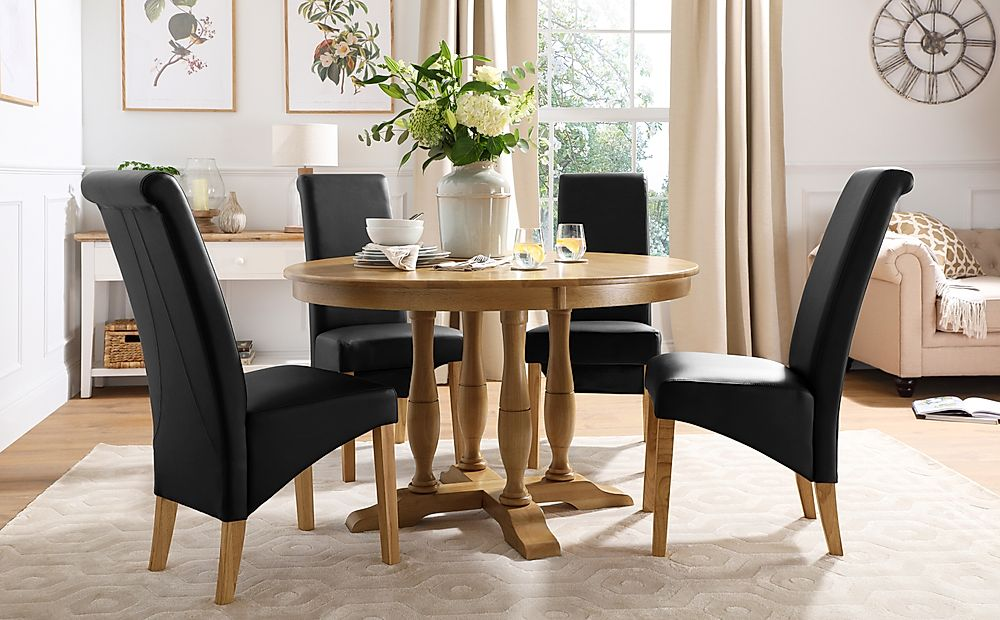 Highgrove Round Oak Wood Dining Table with 4 Richmond Black Leather Chairs