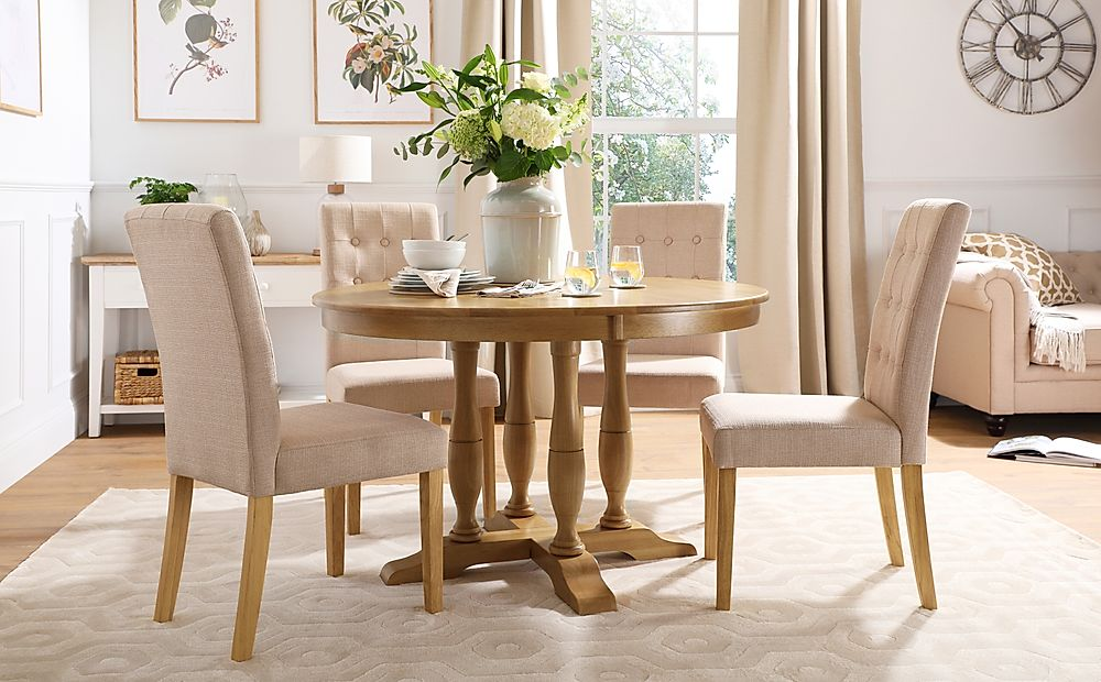 Highgrove Round Oak Wood Dining Table with 4 Regent Oatmeal Fabric Chairs