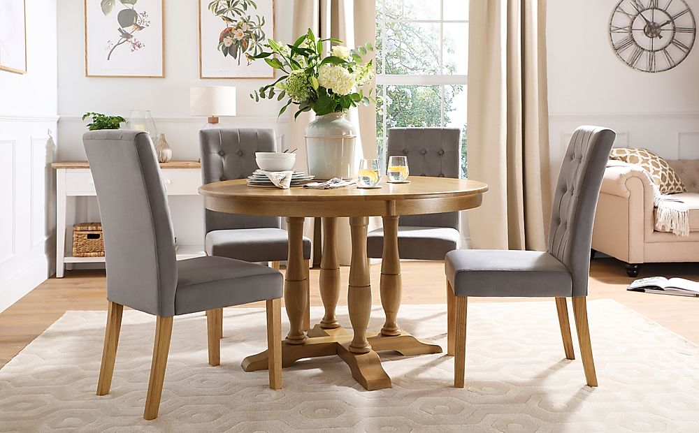 Highgrove Round Oak Wood Dining Table with 4 Regent Grey Velvet Chairs