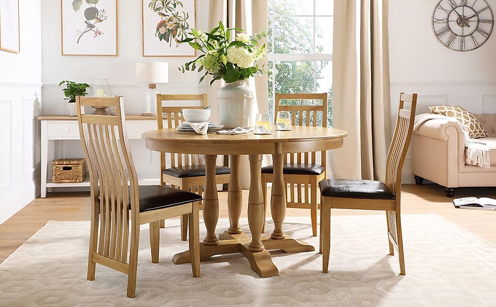 Highgrove Round Oak Wood Dining Table with 4 Bali Chairs (Brown Leather Seat Pads)
