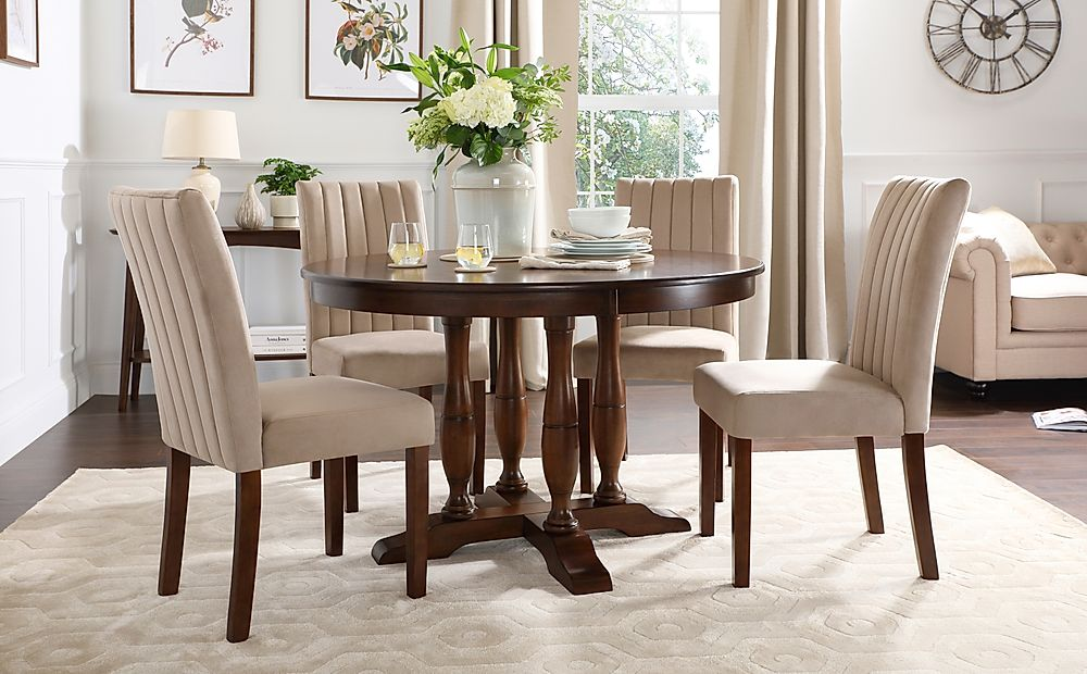 Highgrove Round Dark Wood Dining Table with 4 Salisbury Mink Velvet Chairs