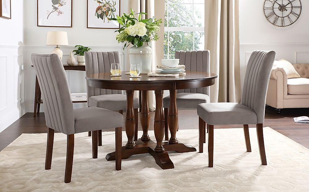 Highgrove Round Dark Wood Dining Table with 4 Salisbury Grey Velvet Chairs