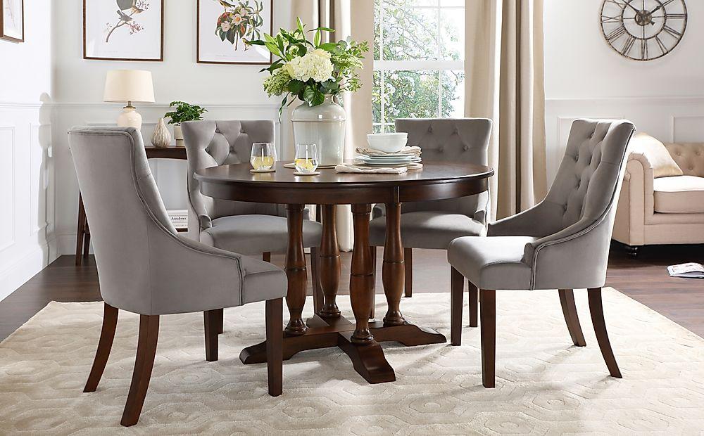 Highgrove Round Dark Wood Dining Table with 4 Duke Grey Velvet Chairs