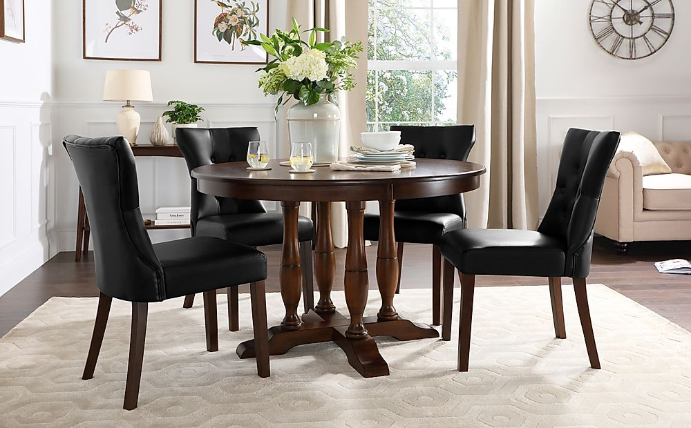 Highgrove Round Dark Wood Dining Table with 4 Bewley Black Leather Chairs