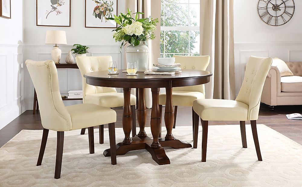 Highgrove Round Dark Wood Dining Table with 4 Bewley Ivory Leather Chairs