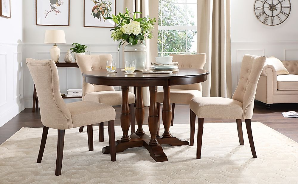 Highgrove Round Dark Wood Dining Table with 4 Bewley Oatmeal Fabric Chairs