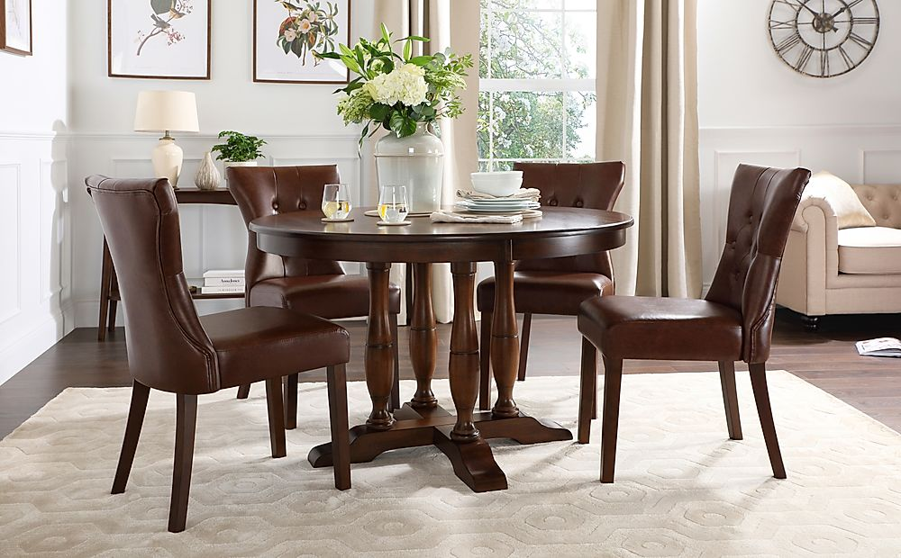 Highgrove Round Dark Wood Dining Table with 4 Bewley Club Brown Leather Chairs