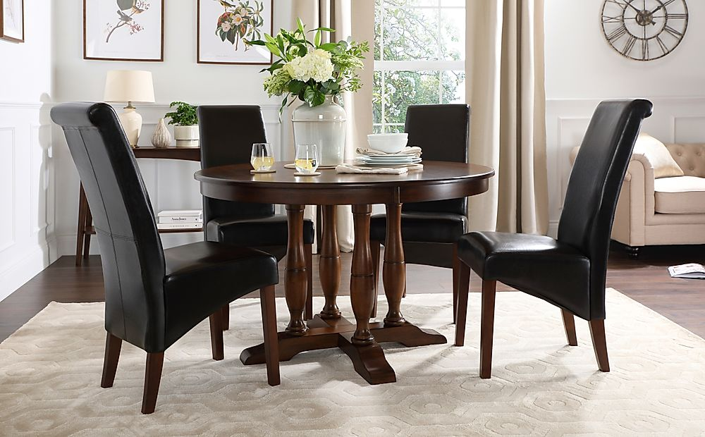 Highgrove Round Dark Wood Dining Table with 4 Boston Brown Leather Chairs