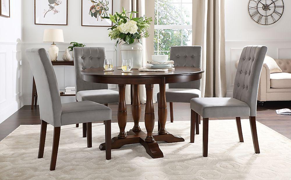Highgrove Round Dark Wood Dining Table with 4 Regent Grey Velvet Chairs