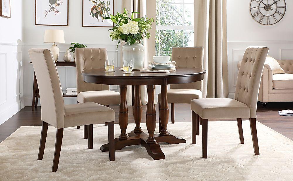 Highgrove Round Dark Wood Dining Table with 4 Regent Mink Velvet Chairs