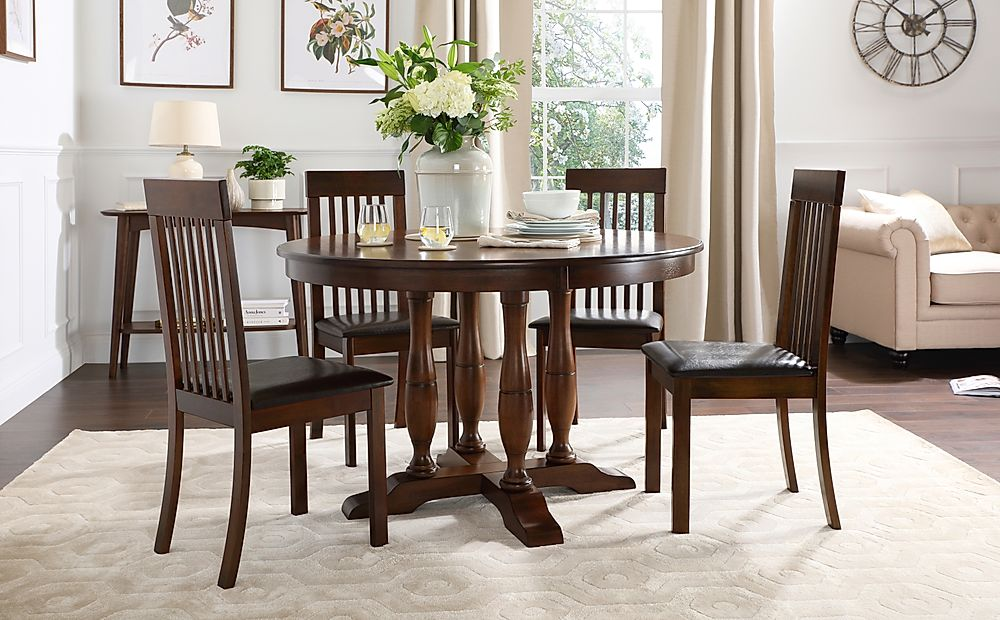 Highgrove Round Dark Wood Dining Table with 4 Oxford Chairs (Brown Leather Seat Pads)