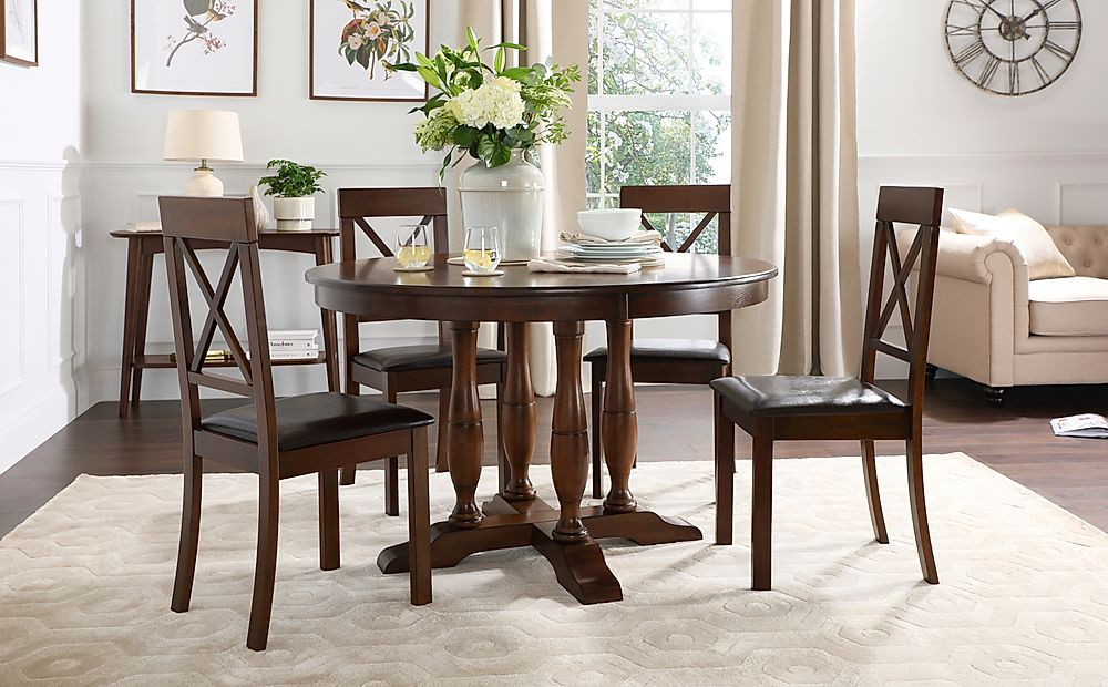 Highgrove Round Dark Wood Dining Table with 4 Kendal Chairs (Brown Leather Seat Pad)