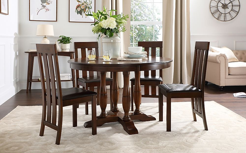 Highgrove Round Dark Wood Dining Table with 4 Chester Chairs (Brown Leather Seat Pads)